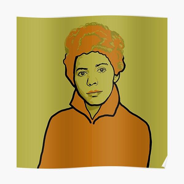 Lorraine Hansberry Green Orange Portrait Poster