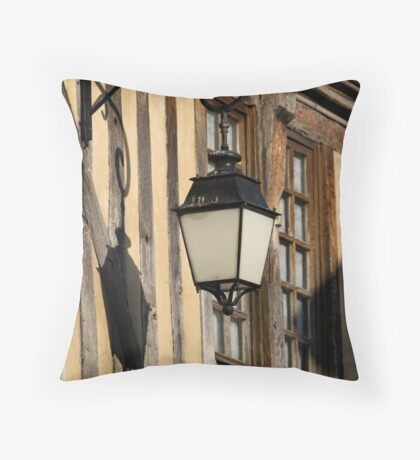 Street Light On A Medieval House - France Throw Pillow