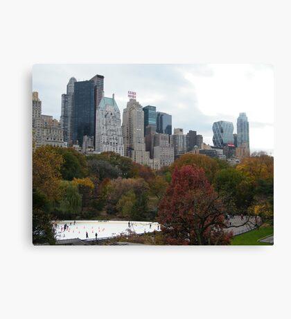 NY November Wollman Rink, Central Park, Fall Foliage Canvas Print