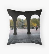 Central Park, Bethesda Fountain, Fall Colors Throw Pillow
