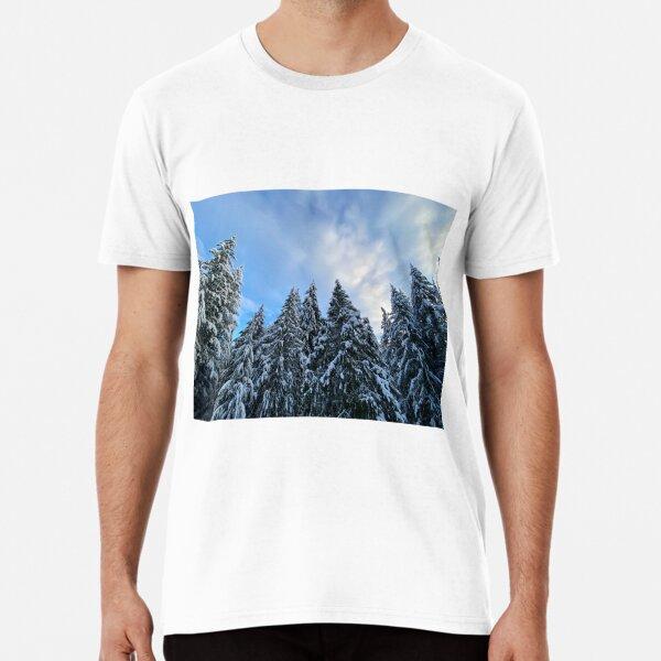 Snow Capped Evergreen Trees Premium T-Shirt