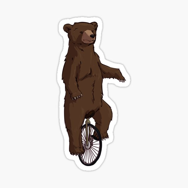 Bear On A Unicycle Sticker