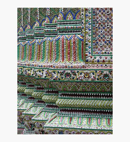 Tiled wall at Wat Phra Kaew, Bangkok, Thailand Photographic Print