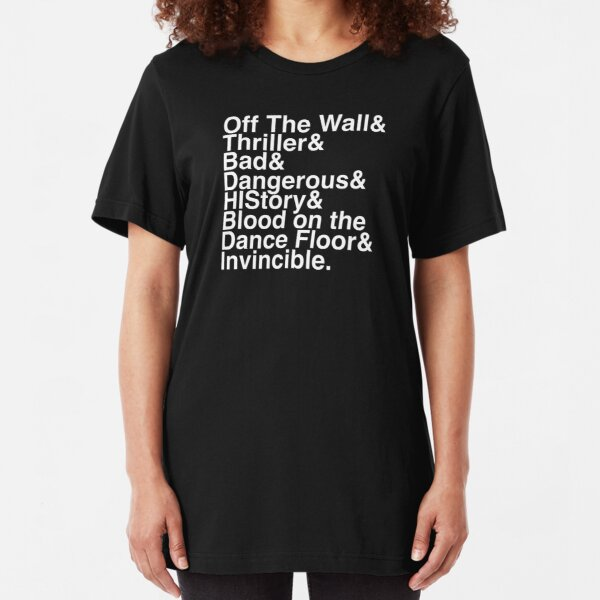 7 Albums in Helvetica (White Text) Slim Fit T-Shirt