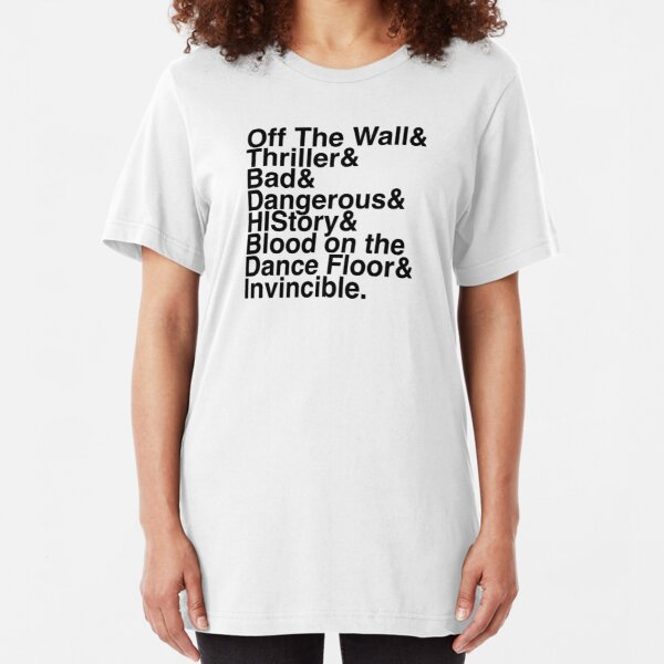 7 Albums in Helvetica (Black Text) Slim Fit T-Shirt
