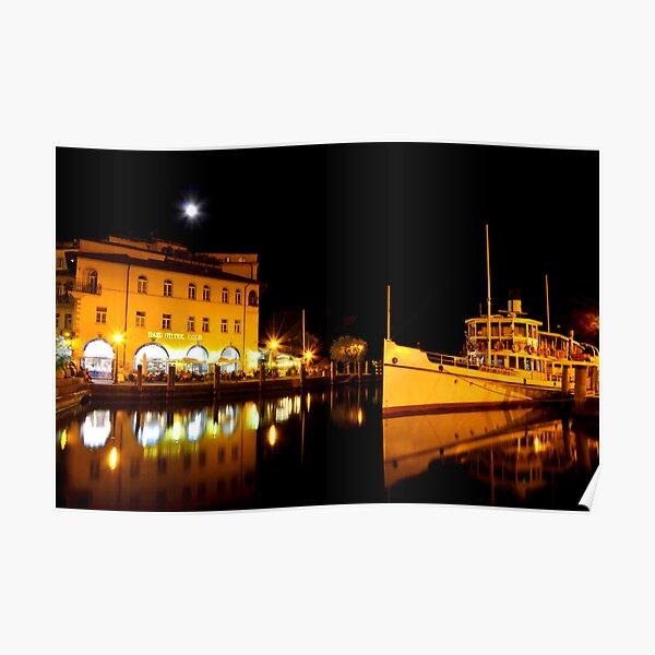 Night time in Riva del Garda Poster