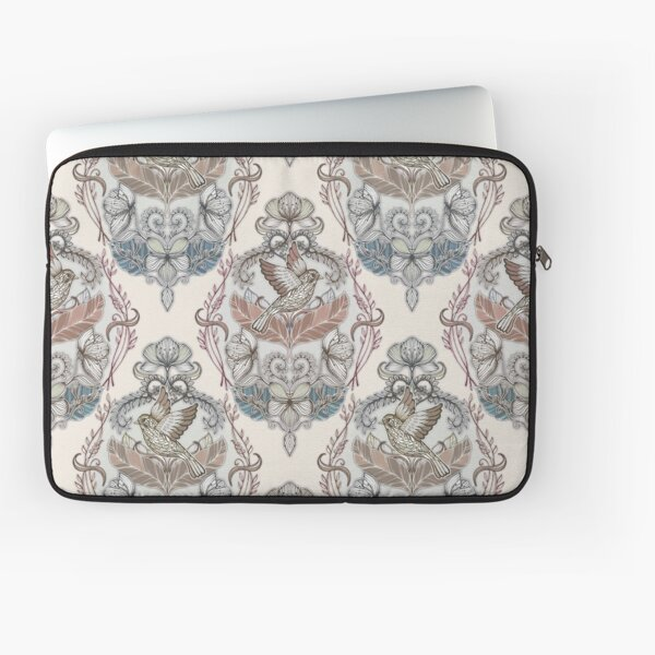 Woodland Birds - hand drawn vintage illustration pattern in neutral colors Laptop Sleeve