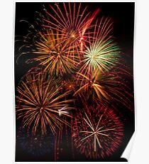 Multiple Fireworks Blasts Paint the Night Sky Poster