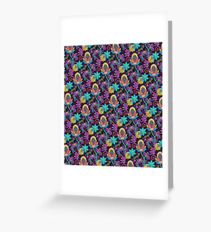 Colorful Abstract Retro Flowers Beads Look Design Greeting Card