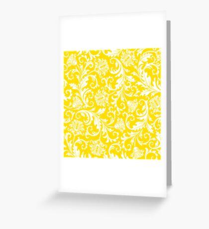 Yellow & White Elegant Floral Damasks Greeting Card
