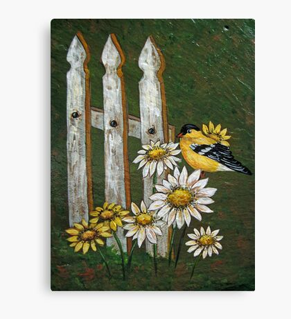 Goldfinch & the Fence in Arcylic Canvas Print