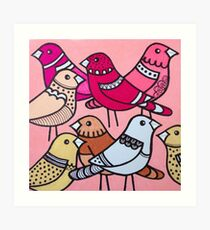 Colourful birds in pink Art Print