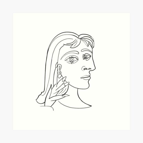 Picasso Frauenkopf # 5 Lineart Kunstdruck