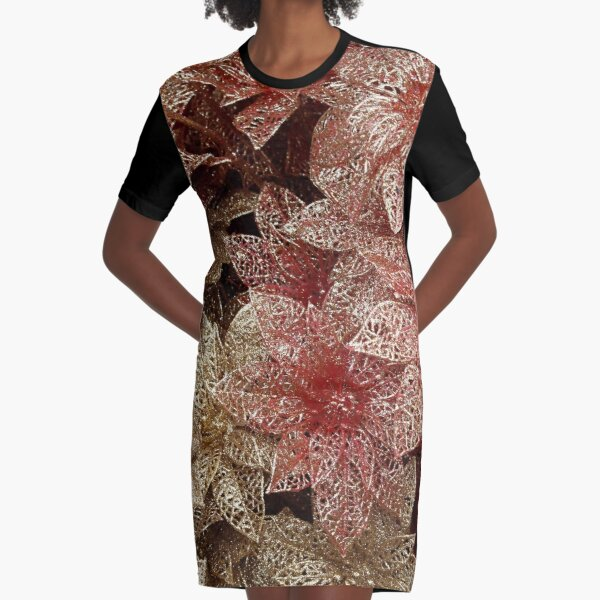 Red and gold metallic flowers Graphic T-Shirt Dress