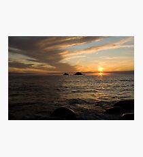 Sunset at Porth Nanven Photographic Print