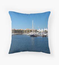 Mariner's Cove Marina Throw Pillow