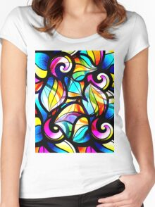 Colorful Stained Glas Like Abstract Swirls Women's Fitted Scoop T-Shirt