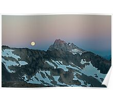 Moon over Goode Mtn - North Cascades N. P. Poster