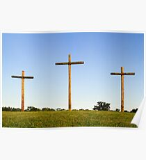 Three Wooden Crosses and Blue Sky Horizon Poster