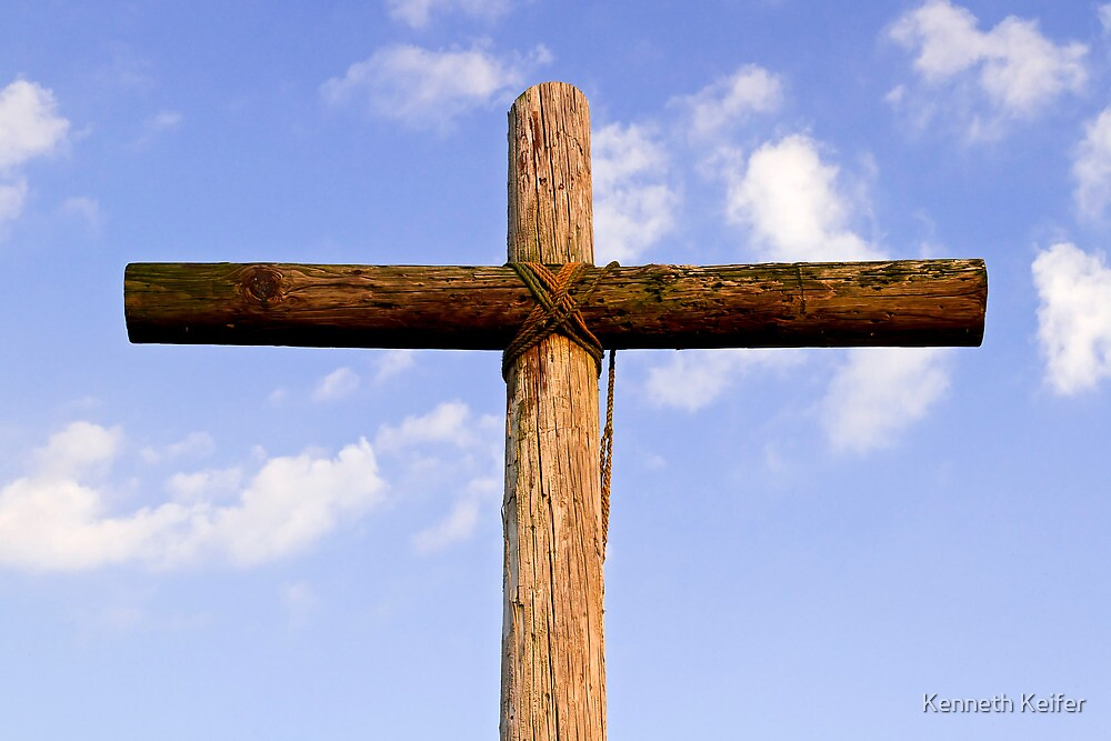 Old Rugged Cross and Cloud-Draped Sky by Kenneth Keifer