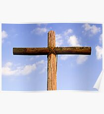 Old Rugged Cross and Cloud-Draped Sky Poster