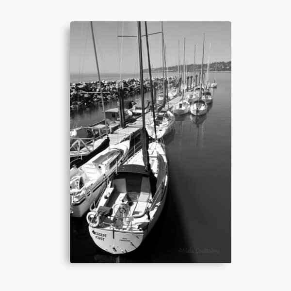 Sailboats at the Pier black and white Metal Print
