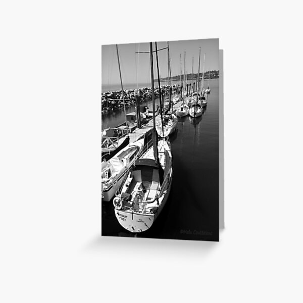 Sailboats at the Pier black and white Greeting Card