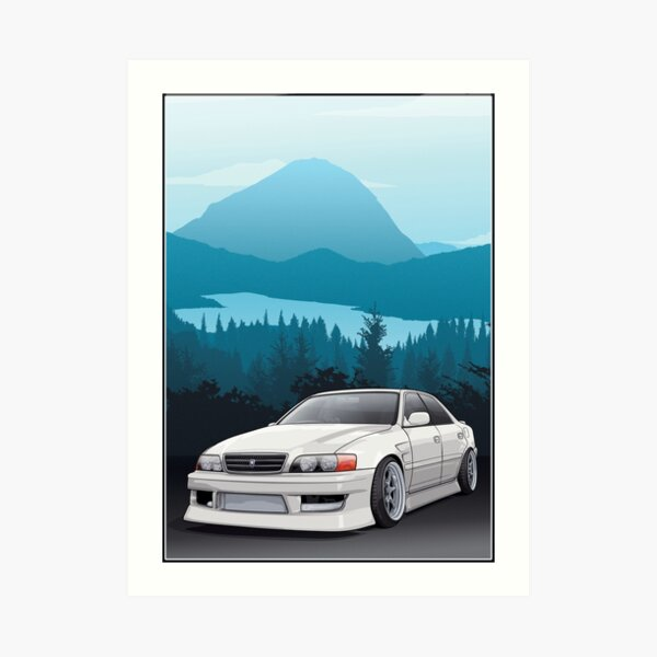 Chaser JZX100 with mountains background Art Print