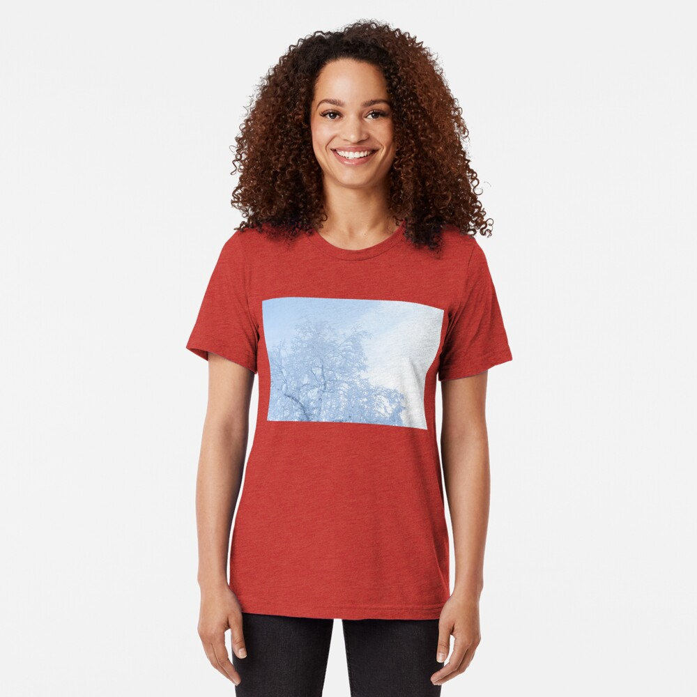 Tree covered in hoarfrost and sky Tri-blend T-Shirt