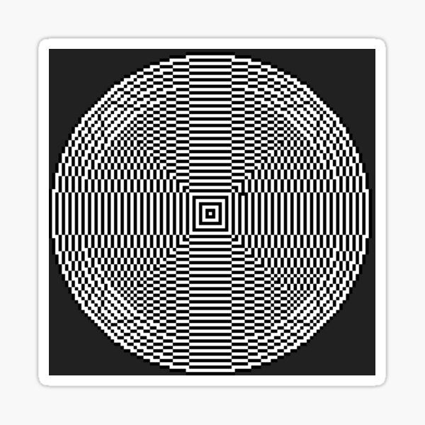 Big pixel circle chart, Psychedelic art. Art movement Sticker
