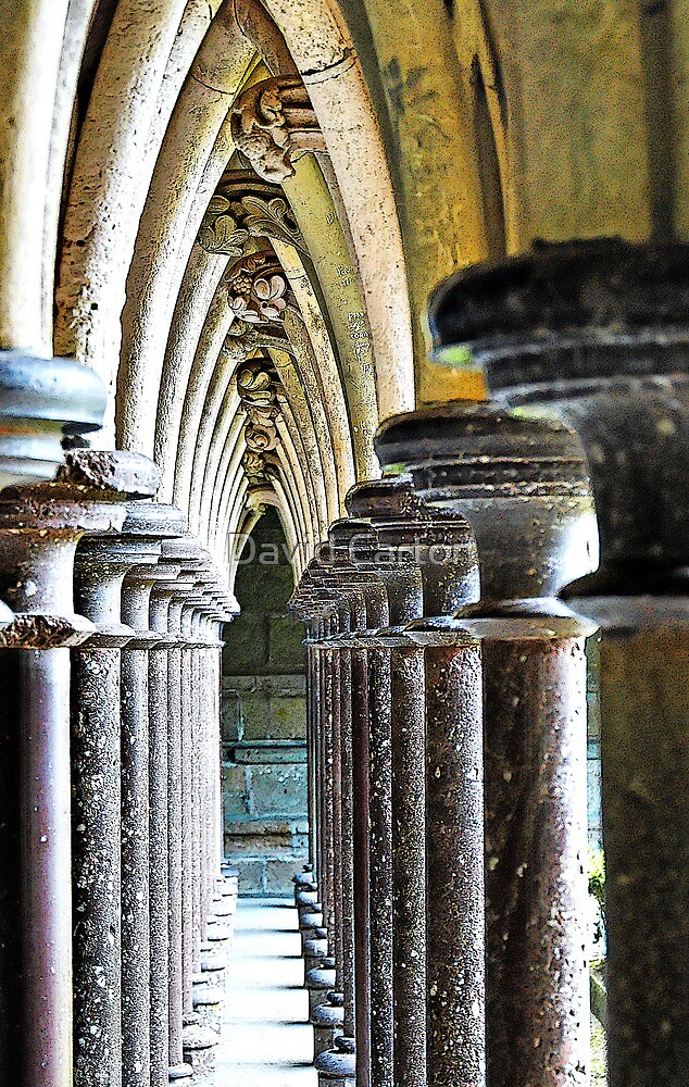 Columns & arches, interior  Mont-Saint-Michel, France by David Carton