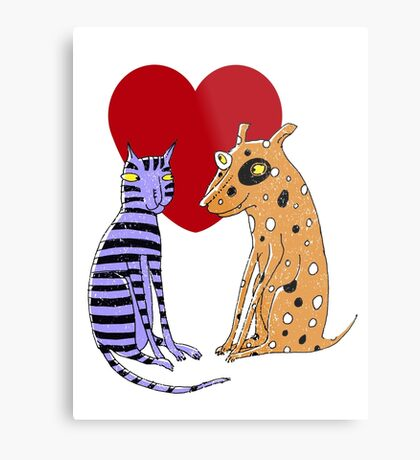 Opposites Attract Cat and Dog Metal Print