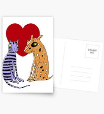 Opposites Attract Cat and Dog Postcards