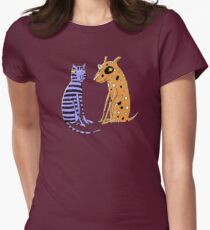 Opposites Attract Cat and Dog Women's Fitted T-Shirt