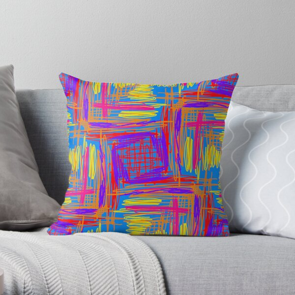 Scribbles markers Throw Pillow
