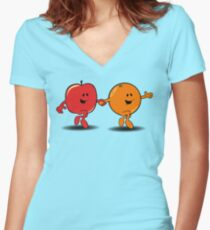 Apples and Oranges Women's Fitted V-Neck T-Shirt