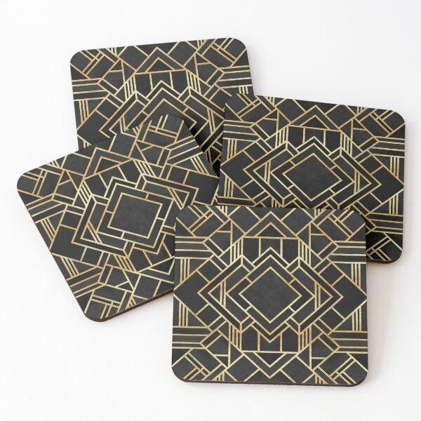 Art Deco Black Coasters (Set of 4)