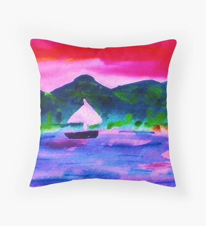 Who would want to leave this,  watercolor Throw Pillow