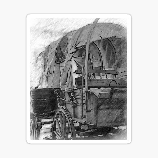Black And White Covered Wagon Sticker