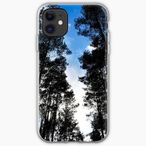 Blue skies and trees at Swinley Forest iPhone Soft Case