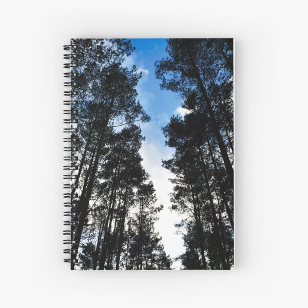 Blue skies and trees at Swinley Forest Spiral Notebook