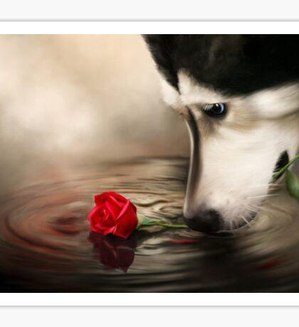 Dog with Rose  Sticker