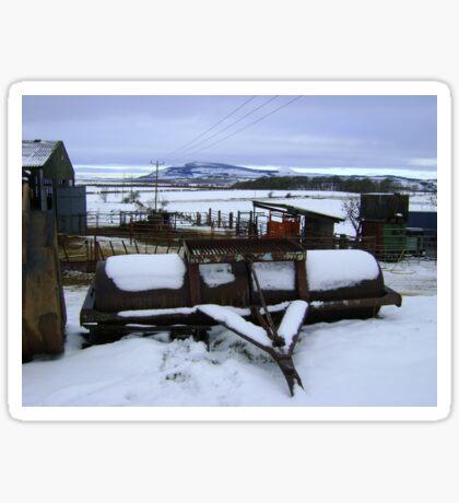 Farmyard metal - Christmas day snowscape Sticker