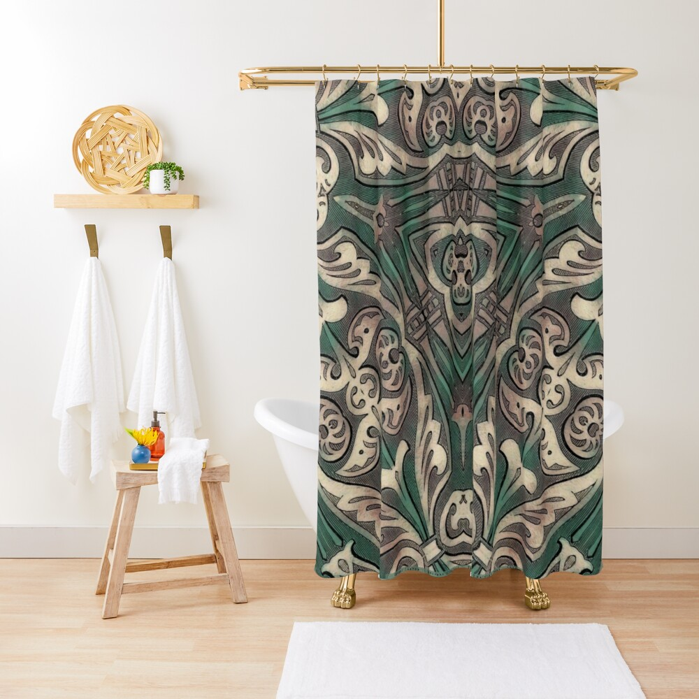 Green Tie Feminine Power Shower Curtain By Laurelcanyon Redbubble