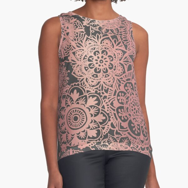 Rose Gold and Grey Mandala Pattern Sleeveless Top