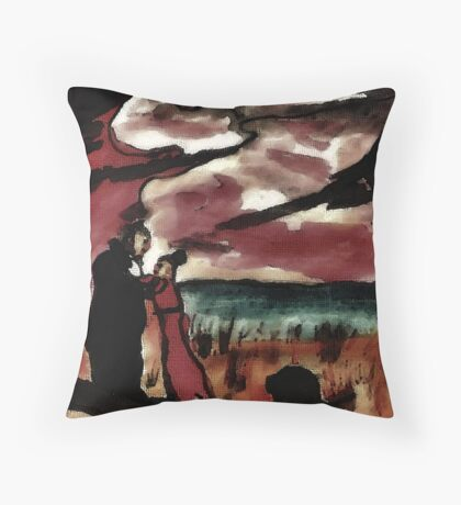 Saying fairwell, watercolor Throw Pillow