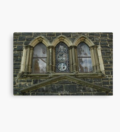 reflections in the church windows Canvas Print