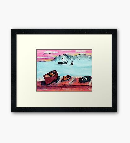 Boats waiting to go out, tomorrow, watercolor Framed Print