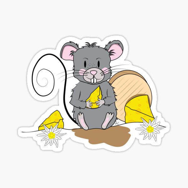 Mouse with cheese Sticker