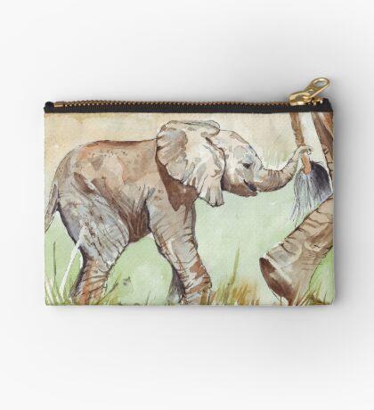 Baby Elephant walk Zipper Pouch